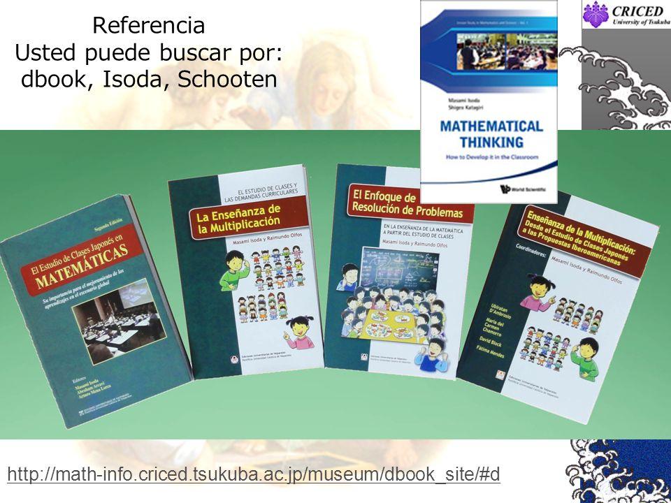 Referencia Usted puede buscar por: dbook, Isoda, Schooten http://math-info.criced.tsukuba.ac.jp/museum/dbook_site/#d