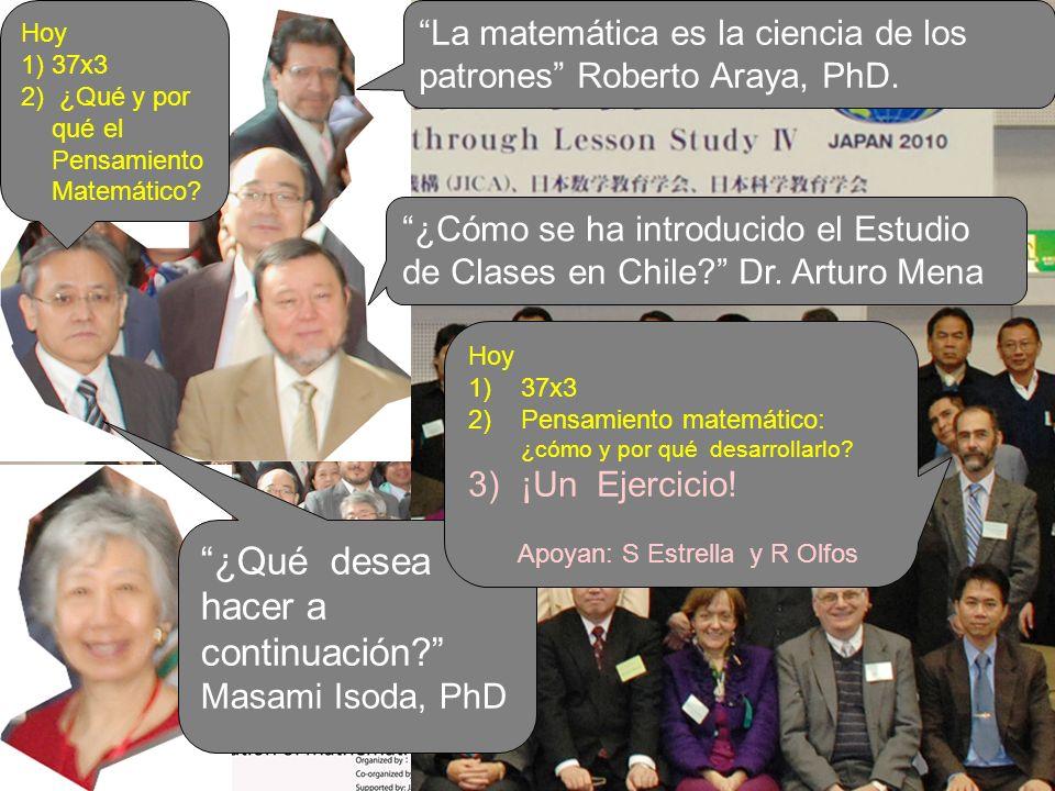 ¿Cómo se ha introducido el Estudio de Clases en Chile? Dr. Arturo Mena La matemática es la ciencia de los patrones Roberto Araya, PhD. ¿Qué desea hace
