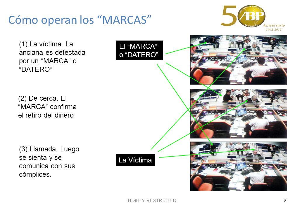 HIGHLY RESTRICTED 6 (2) De cerca. El MARCA confirma el retiro del dinero (1) La víctima. La anciana es detectada por un MARCA o DATERO (3) Llamada. Lu