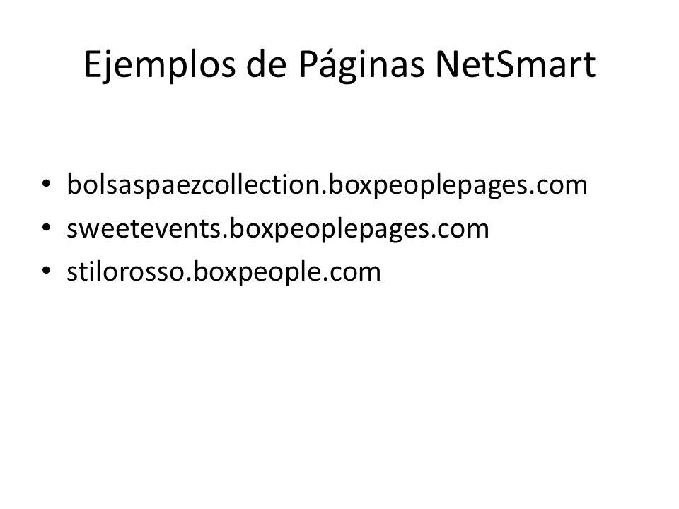 Ejemplos de Páginas NetSmart bolsaspaezcollection.boxpeoplepages.com sweetevents.boxpeoplepages.com stilorosso.boxpeople.com