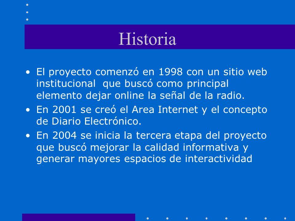 Historia El proyecto comenzó en 1998 con un sitio web institucional que buscó como principal elemento dejar online la señal de la radio.