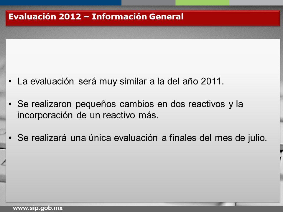 www.sip.gob.mx Evaluación 2012 – Reactivos