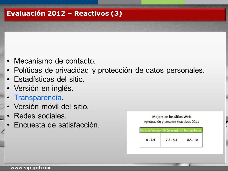 www.sip.gob.mx Fechas de Evaluación y Recepción de Comentarios