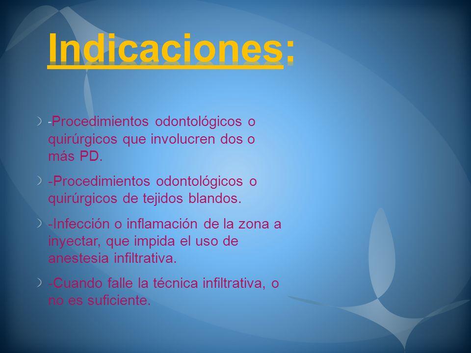 -Procedimientos odontológicos que involucren una o dos PD (usar infiltrativa).