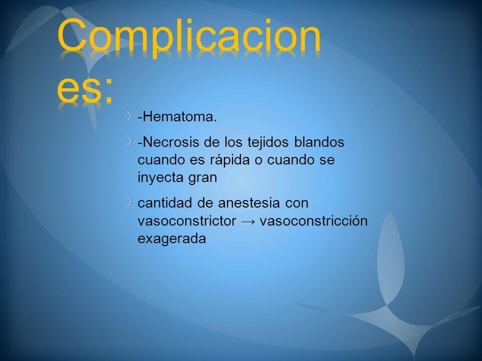 -Hematoma. -Necrosis de los tejidos blandos cuando es rápida o cuando se inyecta gran cantidad de anestesia con vasoconstrictor vasoconstricción exage