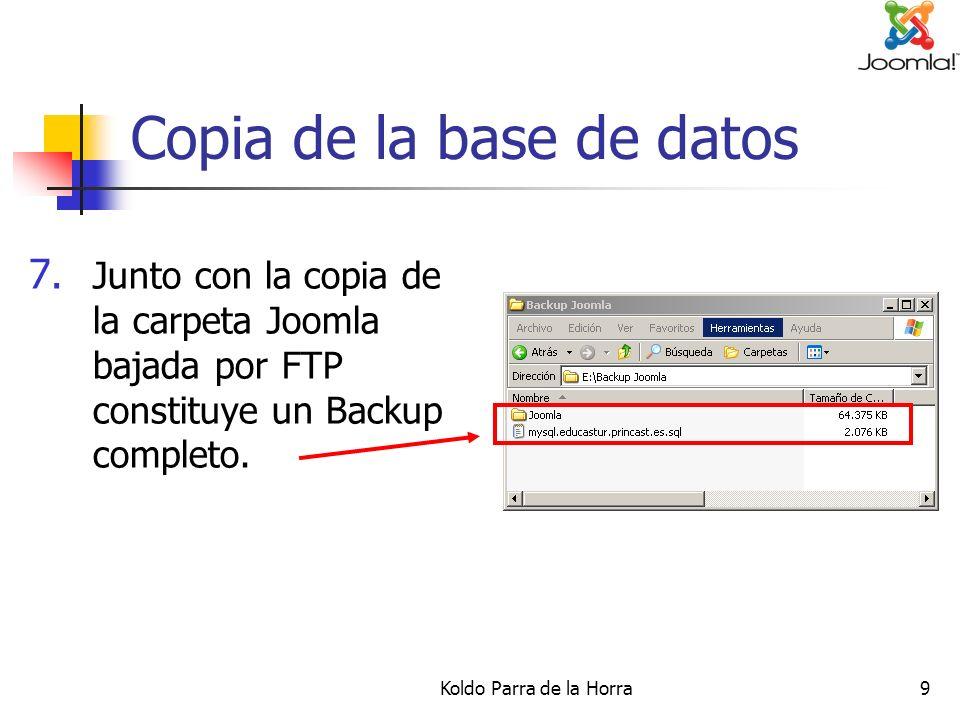 Koldo Parra de la Horra10 Restaurar el backup 1.
