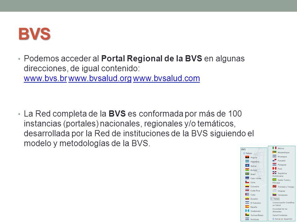 BVS Podemos acceder al Portal Regional de la BVS en algunas direcciones, de igual contenido: www.bvs.br www.bvsalud.org www.bvsalud.com www.bvs.brwww.