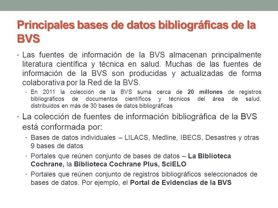 Principales bases de datos bibliográficas de la BVS Las fuentes de información de la BVS almacenan principalmente literatura científica y técnica en s