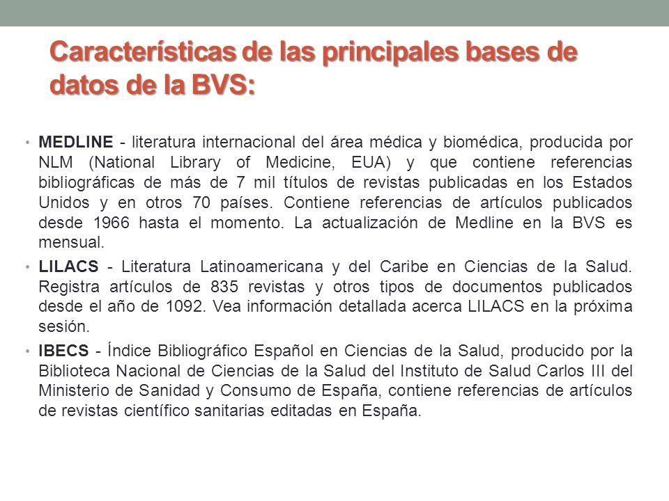 Características de las principales bases de datos de la BVS: MEDLINE - literatura internacional del área médica y biomédica, producida por NLM (Nation