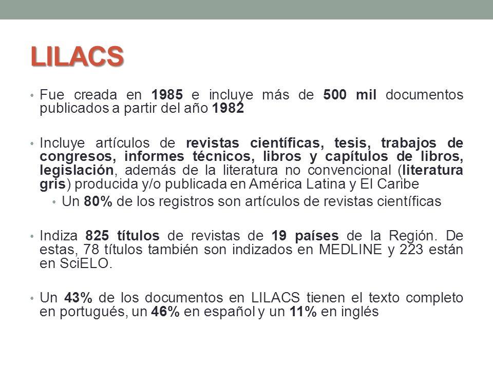 LILACS Fue creada en 1985 e incluye más de 500 mil documentos publicados a partir del año 1982 Incluye artículos de revistas científicas, tesis, traba