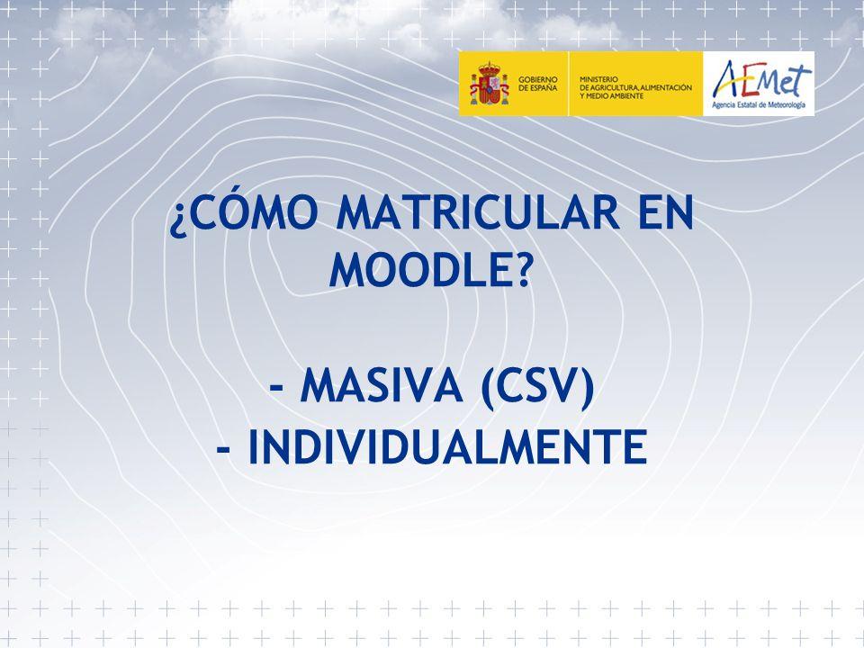 2 - Matriculación de forma MASIVA (CSV)