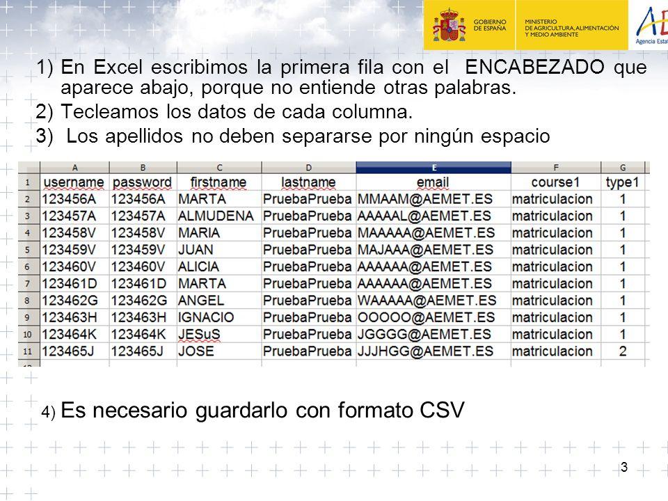 3 1)En Excel escribimos la primera fila con el ENCABEZADO que aparece abajo, porque no entiende otras palabras.