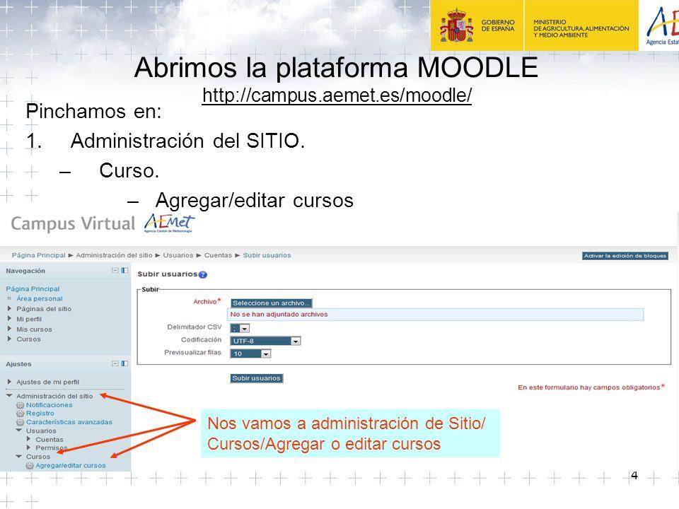 4 Abrimos la plataforma MOODLE http://campus.aemet.es/moodle/ Pinchamos en: 1.Administración del SITIO.