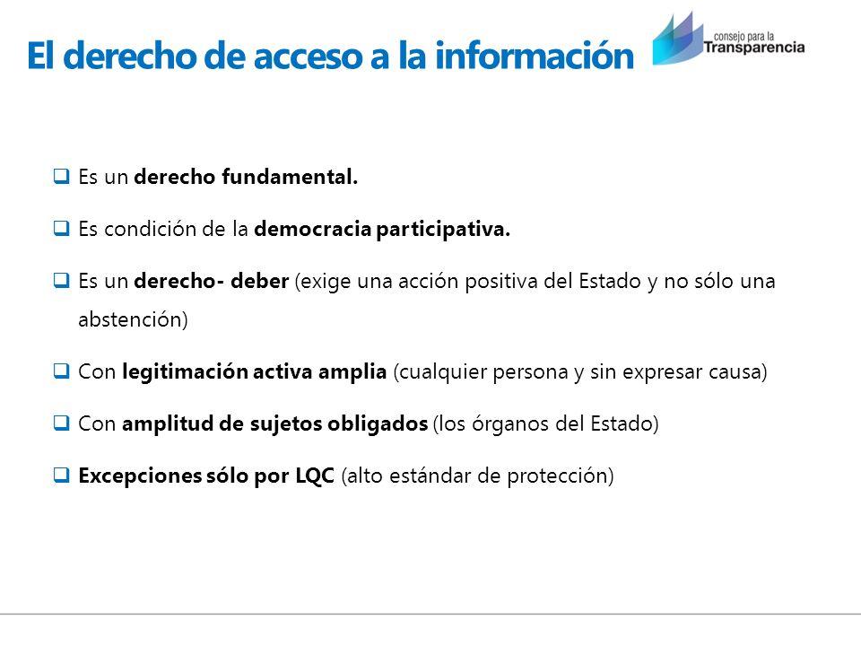 El derecho de acceso a la información Es un derecho fundamental. Es condición de la democracia participativa. Es un derecho- deber (exige una acción p