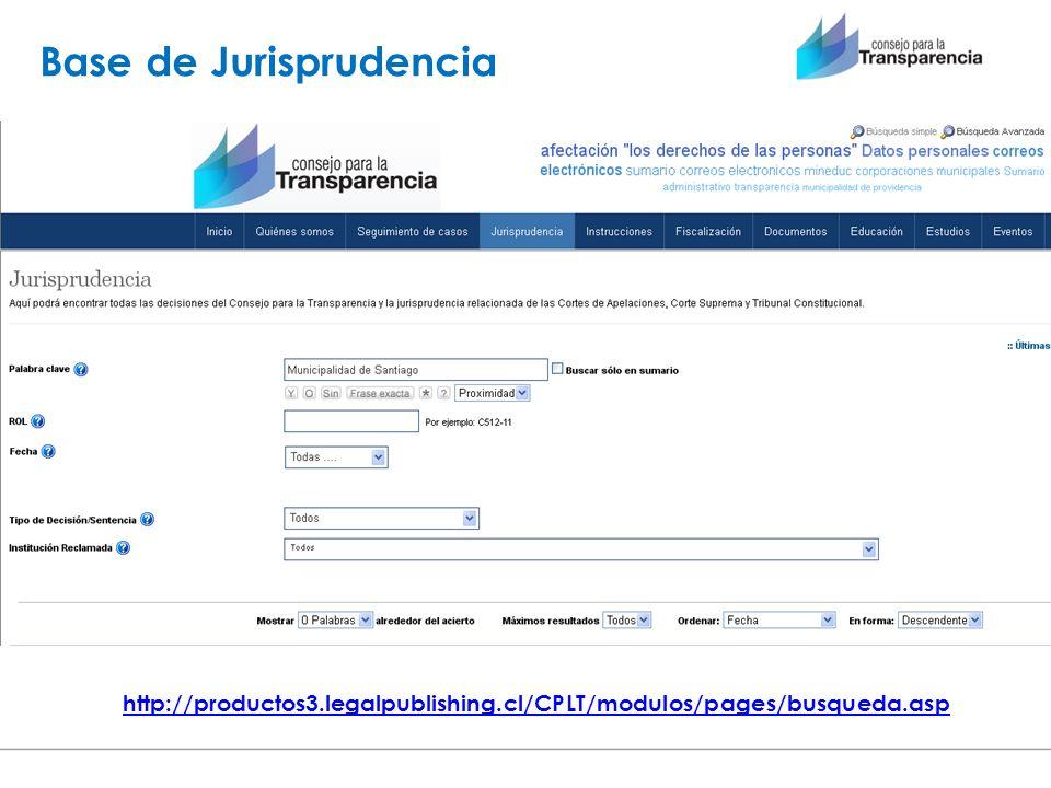 http://productos3.legalpublishing.cl/CPLT/modulos/pages/busqueda.asp Base de Jurisprudencia