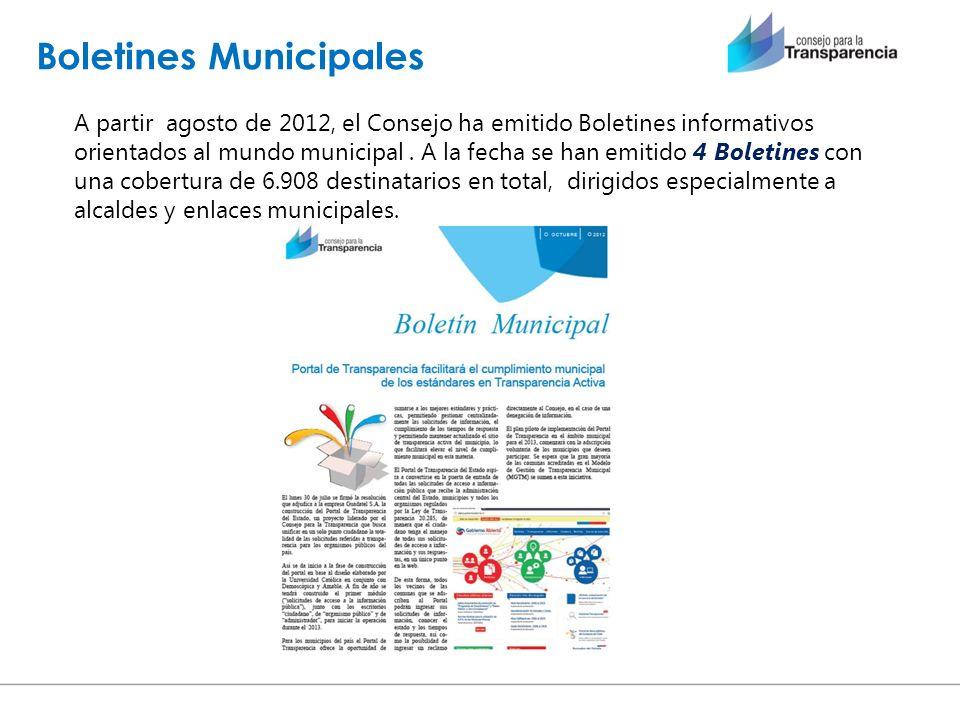 Boletines Municipales A partir agosto de 2012, el Consejo ha emitido Boletines informativos orientados al mundo municipal. A la fecha se han emitido 4