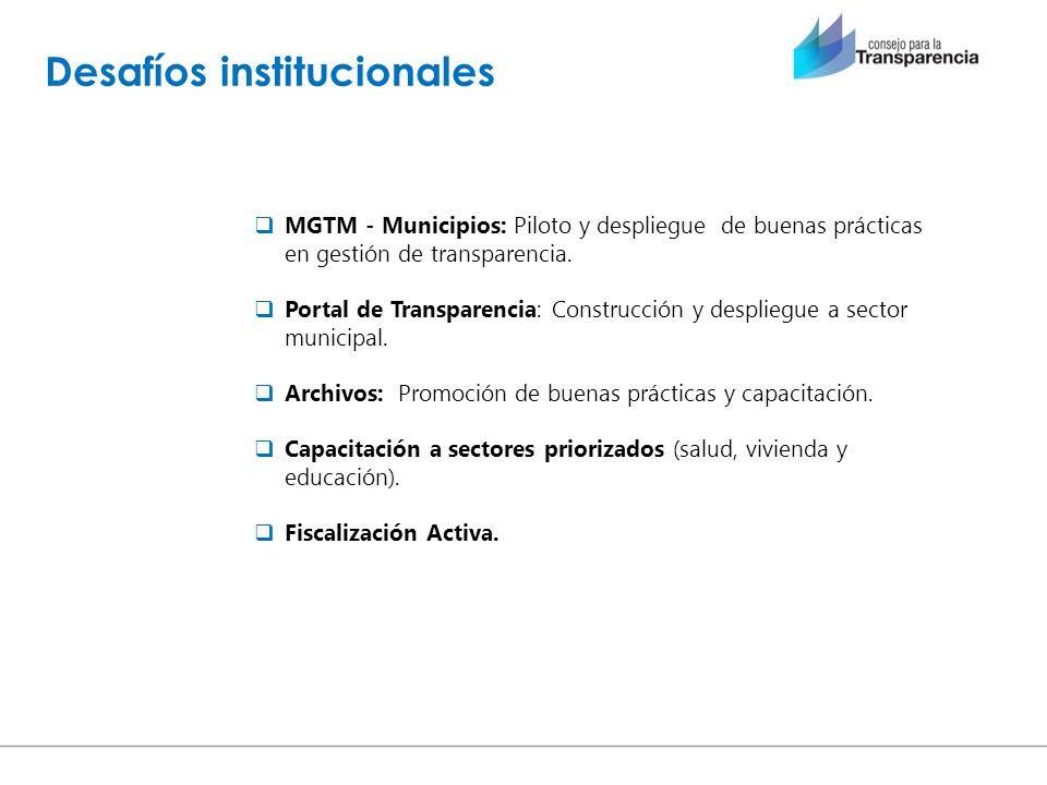 Desafíos institucionales MGTM - Municipios: Piloto y despliegue de buenas prácticas en gestión de transparencia. Portal de Transparencia: Construcción