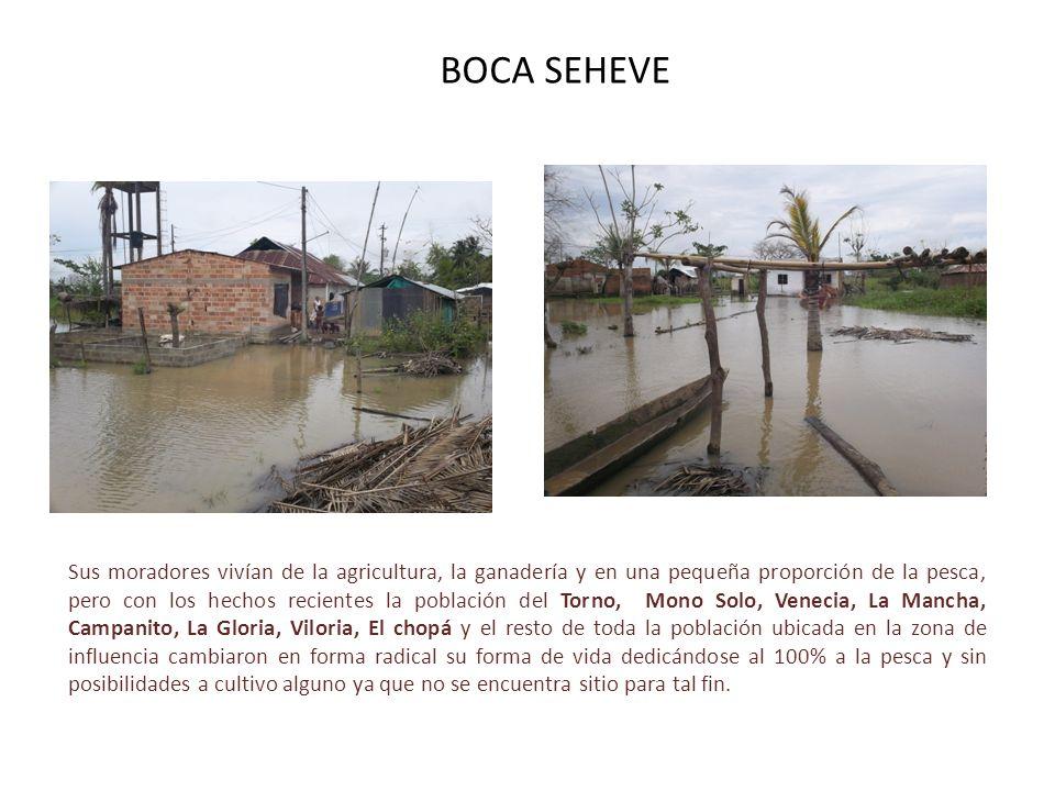 BOCA SEHEVE Sus moradores vivían de la agricultura, la ganadería y en una pequeña proporción de la pesca, pero con los hechos recientes la población d