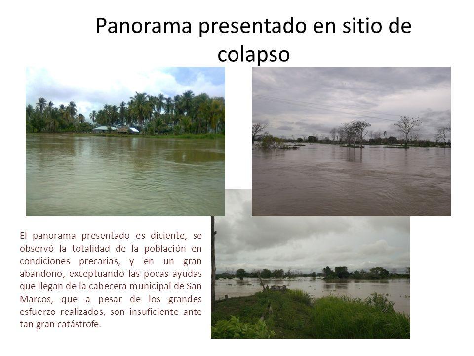 Panorama presentado en sitio de colapso El panorama presentado es diciente, se observó la totalidad de la población en condiciones precarias, y en un