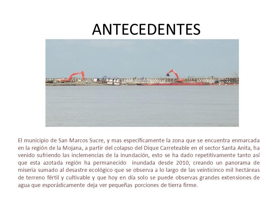 ANTECEDENTES El municipio de San Marcos Sucre, y mas específicamente la zona que se encuentra enmarcada en la región de la Mojana, a partir del colaps