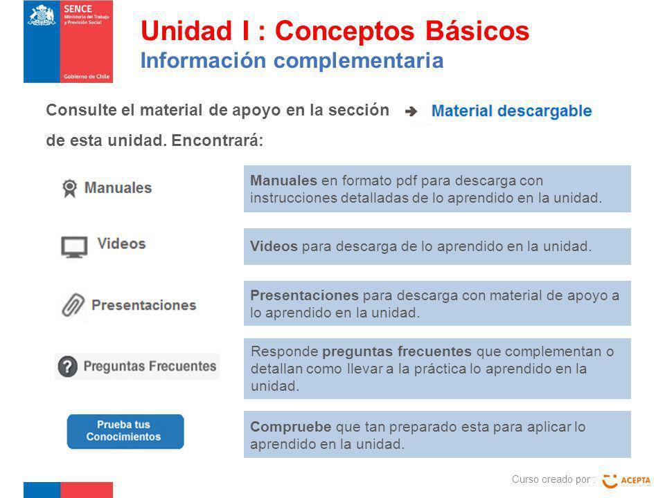 Consulte el material de apoyo en la sección de esta unidad. Encontrará: Unidad I : Conceptos Básicos Información complementaria Manuales en formato pd