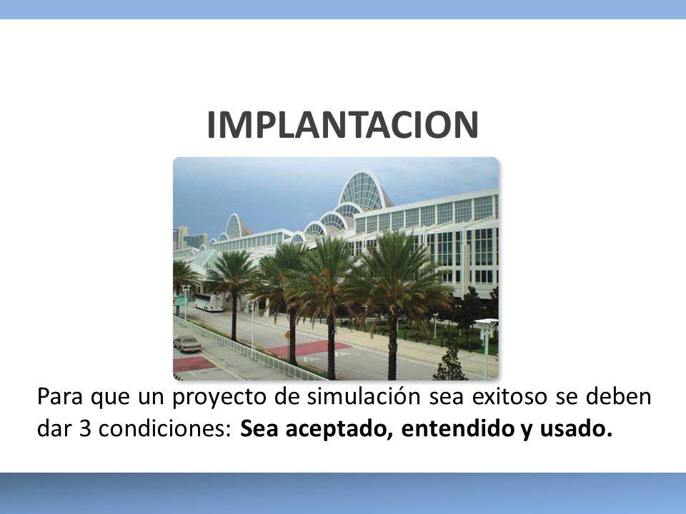 IMPLANTACION Para que un proyecto de simulación sea exitoso se deben dar 3 condiciones: Sea aceptado, entendido y usado.