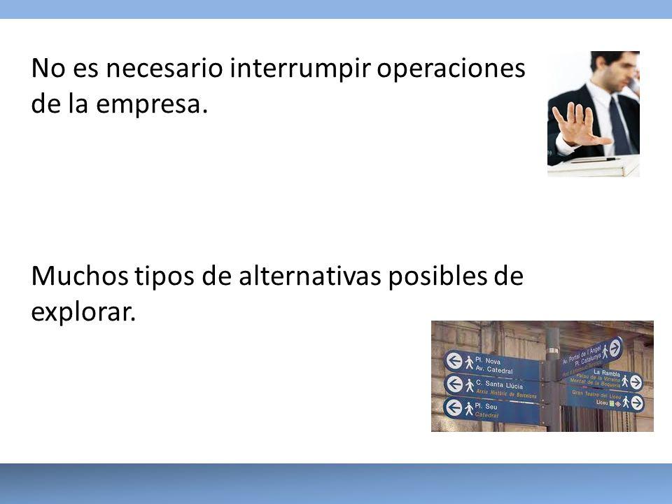 No es necesario interrumpir operaciones de la empresa. Muchos tipos de alternativas posibles de explorar.