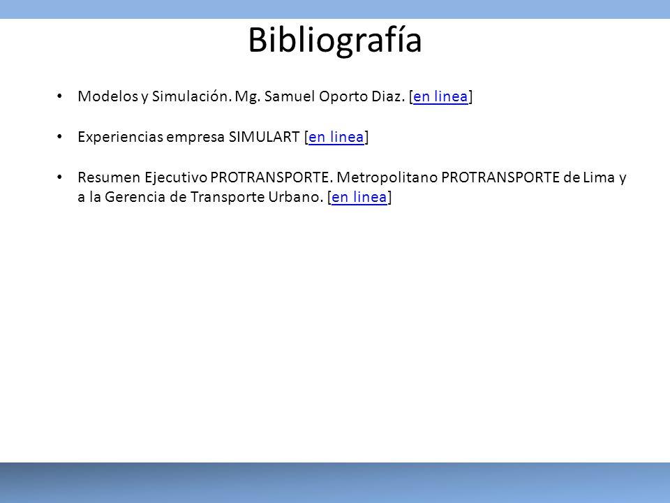 Bibliografía Modelos y Simulación. Mg. Samuel Oporto Diaz. [en linea]en linea Experiencias empresa SIMULART [en linea]en linea Resumen Ejecutivo PROTR