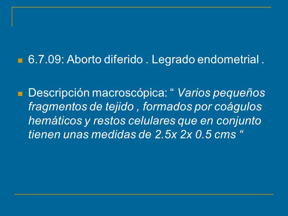 6.7.09: Aborto diferido.Legrado endometrial.