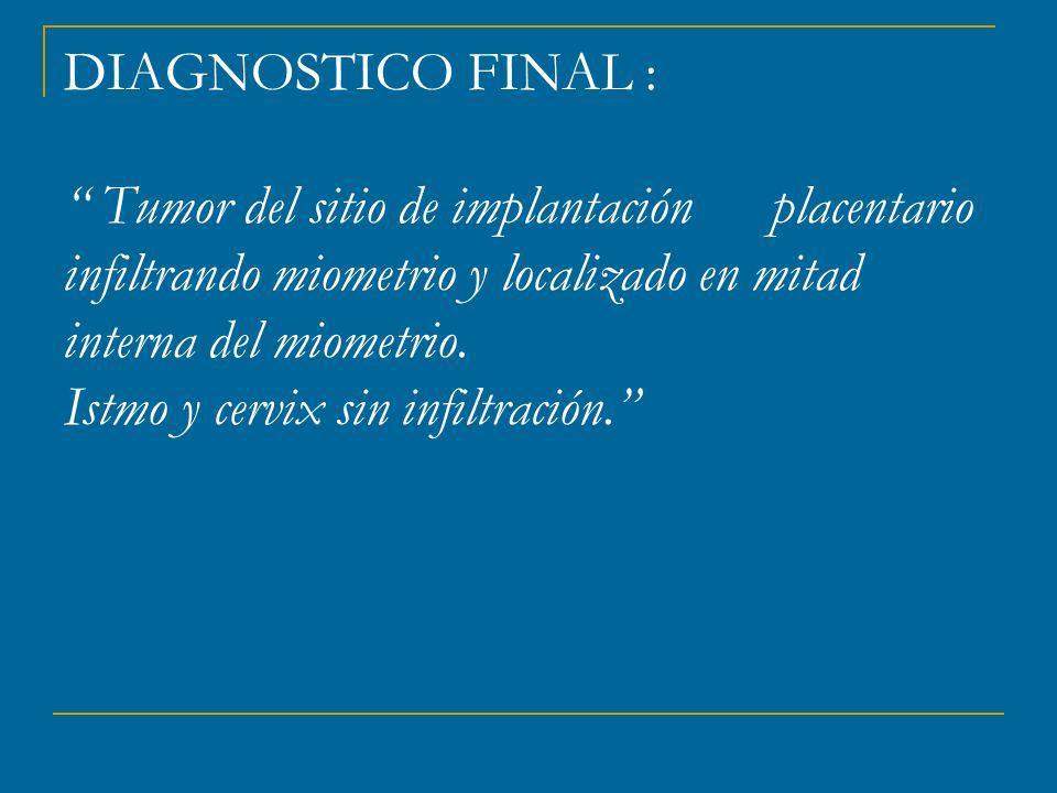 DIAGNOSTICO FINAL : Tumor del sitio de implantación placentario infiltrando miometrio y localizado en mitad interna del miometrio.