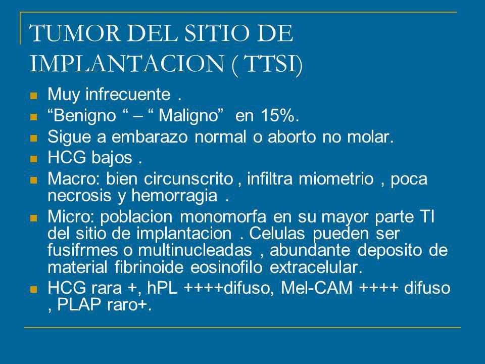 TUMOR DEL SITIO DE IMPLANTACION ( TTSI) Muy infrecuente.