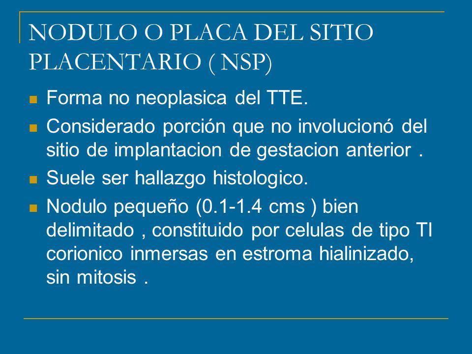 NODULO O PLACA DEL SITIO PLACENTARIO ( NSP) Forma no neoplasica del TTE.