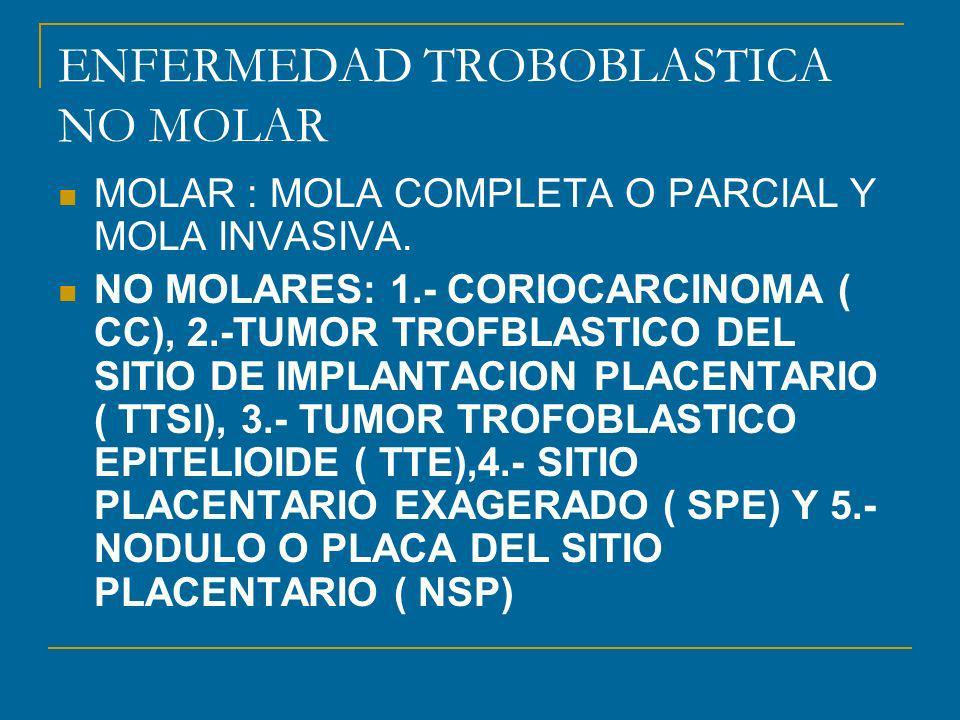 ENFERMEDAD TROBOBLASTICA NO MOLAR MOLAR : MOLA COMPLETA O PARCIAL Y MOLA INVASIVA.