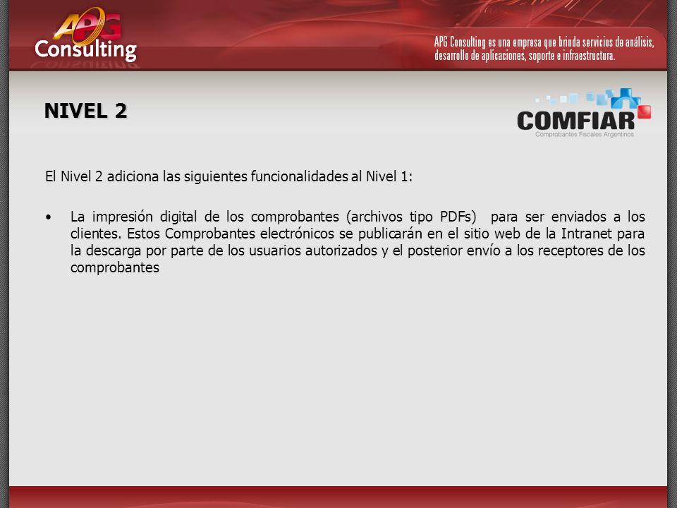 El Nivel 2 adiciona las siguientes funcionalidades al Nivel 1: La impresión digital de los comprobantes (archivos tipo PDFs) para ser enviados a los c