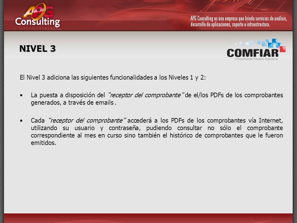 NIVEL 3 El Nivel 3 adiciona las siguientes funcionalidades a los Niveles 1 y 2: La puesta a disposición del receptor del comprobante de el/los PDFs de