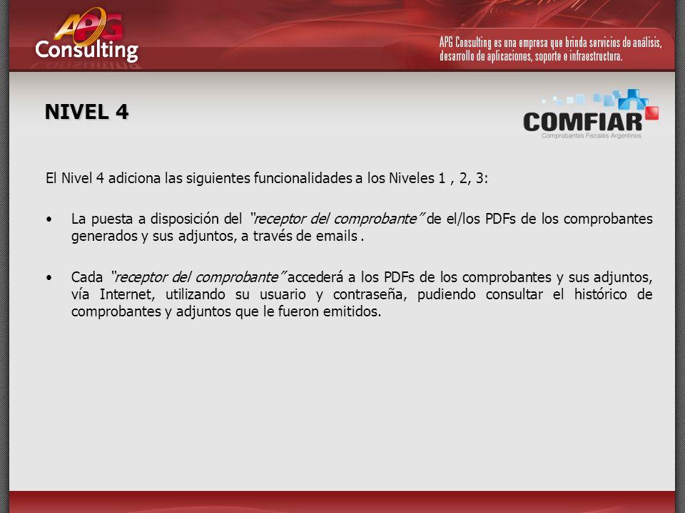 NIVEL 4 El Nivel 4 adiciona las siguientes funcionalidades a los Niveles 1, 2, 3: La puesta a disposición del receptor del comprobante de el/los PDFs