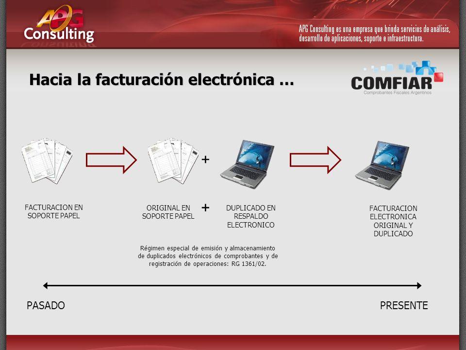 Hacia la facturación electrónica … PASADOPRESENTE + FACTURACION EN SOPORTE PAPEL ORIGINAL EN SOPORTE PAPEL + DUPLICADO EN RESPALDO ELECTRONICO FACTURA