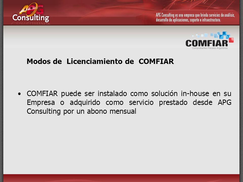 Modos de Licenciamiento de COMFIAR COMFIAR puede ser instalado como solución in-house en su Empresa o adquirido como servicio prestado desde APG Consu