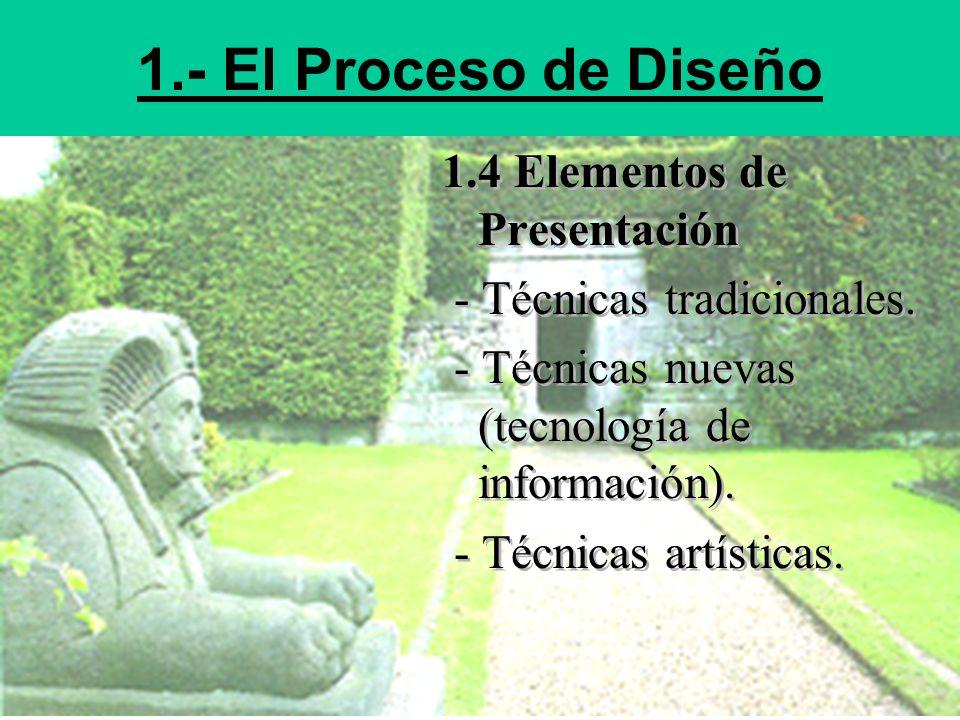 1.- El Proceso de Diseño 1.4 Elementos de Presentación - Técnicas tradicionales. - Técnicas nuevas (tecnología de información). - Técnicas artísticas.