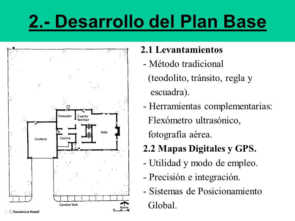 2.- Desarrollo del Plan Base 2.1 Levantamientos - Método tradicional (teodolito, tránsito, regla y escuadra). - Herramientas complementarias: Flexómet