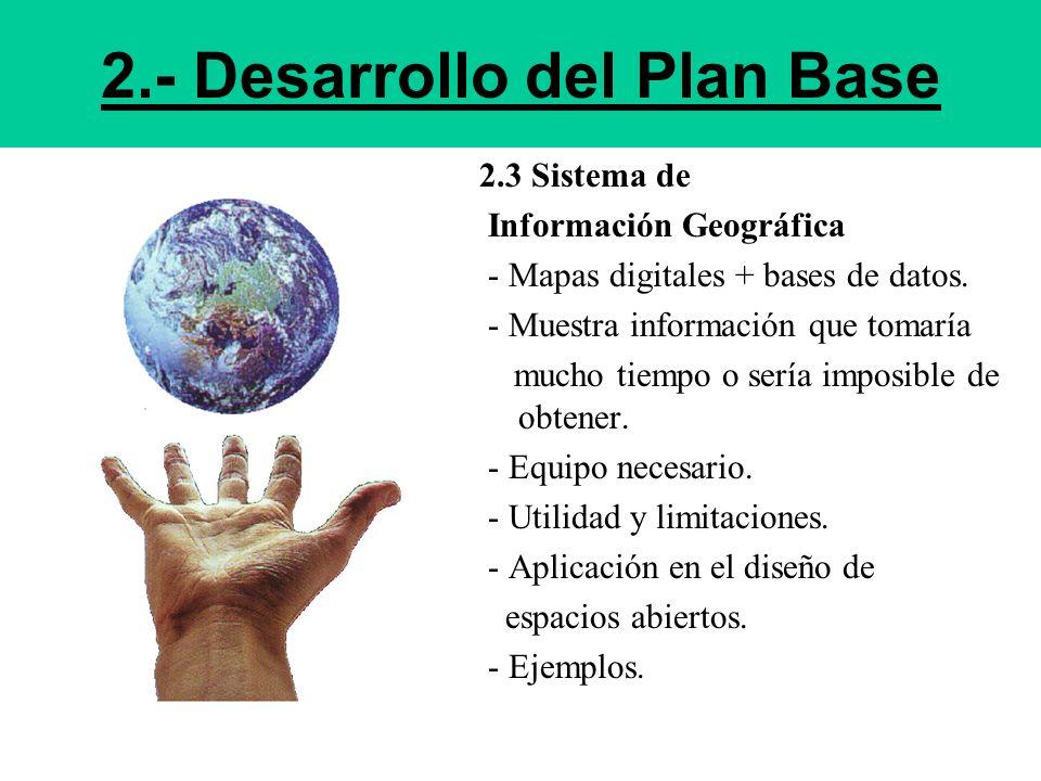 2.- Desarrollo del Plan Base 2.3 Sistema de Información Geográfica - Mapas digitales + bases de datos. - Muestra información que tomaría mucho tiempo