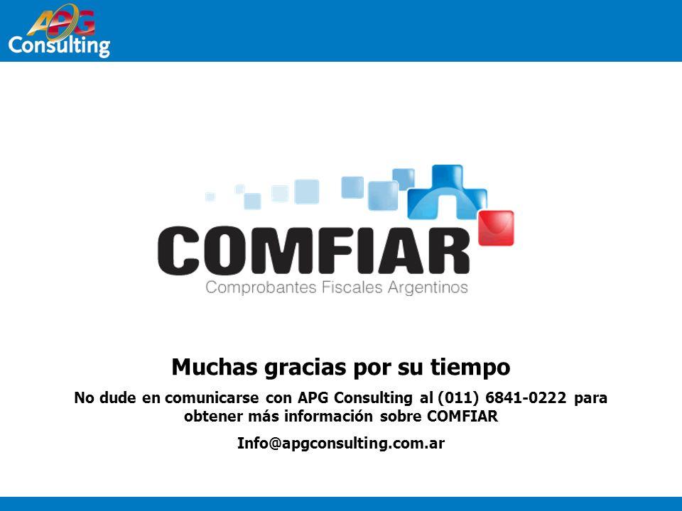 Muchas gracias por su tiempo No dude en comunicarse con APG Consulting al (011) 6841-0222 para obtener más información sobre COMFIAR Info@apgconsultin