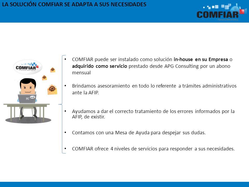 COMFIAR puede ser instalado como solución in-house en su Empresa o adquirido como servicio prestado desde APG Consulting por un abono mensual Brindamo