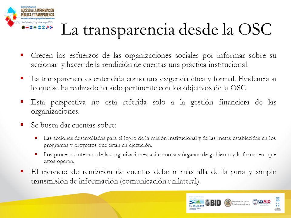 La transparencia desde la OSC Crecen los esfuerzos de las organizaciones sociales por informar sobre su accionar y hacer de la rendición de cuentas una práctica institucional.