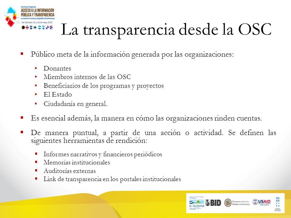 La transparencia desde la OSC Público meta de la información generada por las organizaciones: Donantes Miembros internos de las OSC Beneficiarios de los programas y proyectos El Estado Ciudadanía en general.