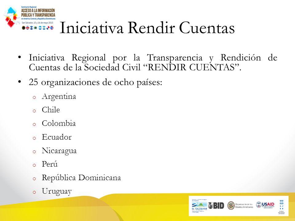 Iniciativa Rendir Cuentas Iniciativa Regional por la Transparencia y Rendición de Cuentas de la Sociedad Civil RENDIR CUENTAS.