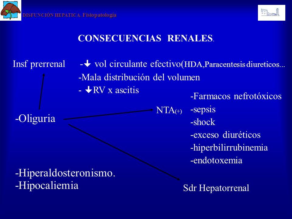 CONSECUENCIAS RENALES. -Oliguria DISFUNCIÓN HEPATICA. Fisiopatología Insf prerrenal - vol circulante efectivo( HDA,Paracentesis diureticos... -Mala di