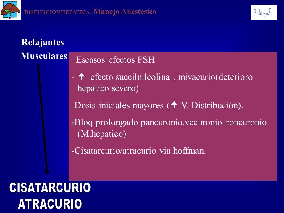 DISFUNCION HEPATICA : Manejo Anestesico - Escasos efectos FSH - efecto succilnilcolina, mivacurio(deterioro hepatico severo) -Dosis iniciales mayores
