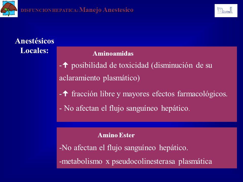 DISFUNCION HEPATICA: Manejo Anestesico Anestésicos Locales: Aminoamidas - posibilidad de toxicidad (disminución de su aclaramiento plasmático) - fracc