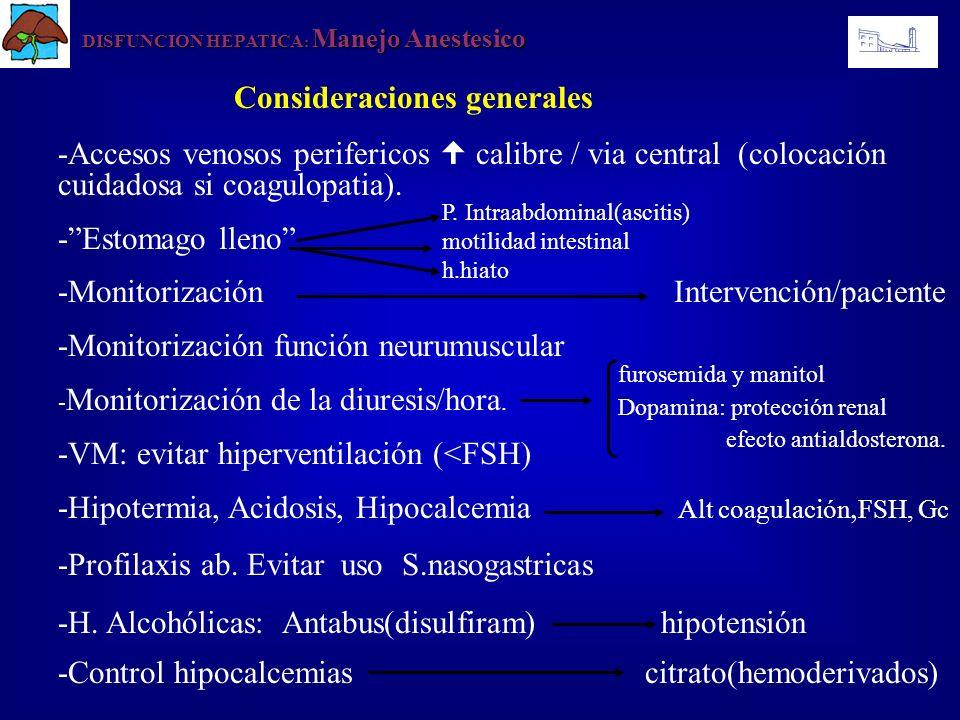 DISFUNCION HEPATICA : Manejo Anestesico Consideraciones generales -Accesos venosos perifericos calibre / via central (colocación cuidadosa si coagulop